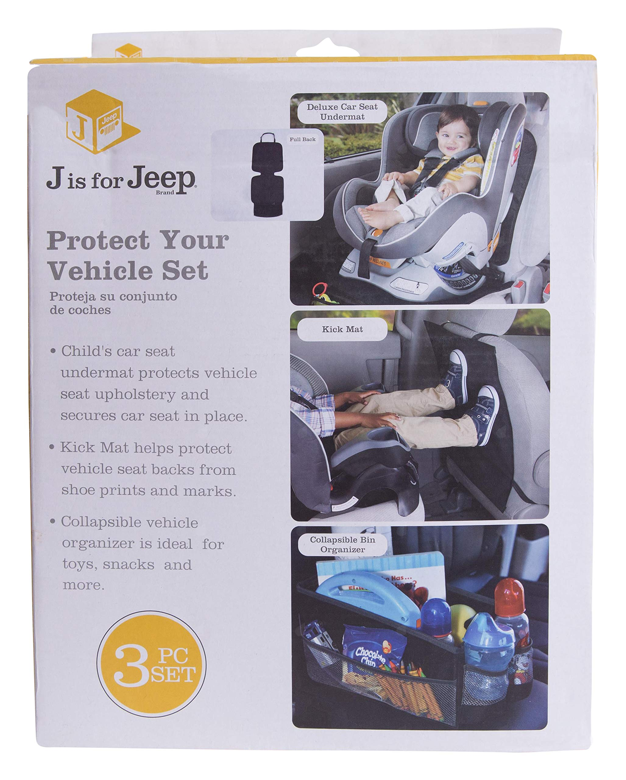JEEP Vehicle Protection Accessory Set: Deluxe Car Seat Undermat,Kick Mat, Bin Organizer by Jeep