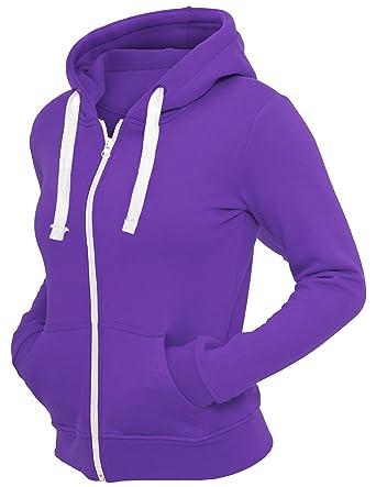 19b69e5f8 VogueLand Ladies Plain Zip Up Zipper Hoodies Sweatshirts Top Jacket Hoody  (4X-Large, Purple): Amazon.co.uk: Clothing