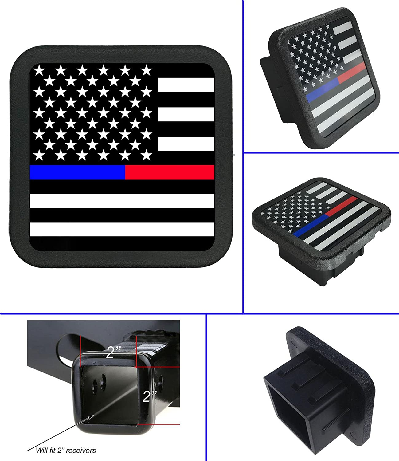 USA US American Flag Trailer Hitch Cover tube Plug Insert (Fits 2' Receivers) Free exercise