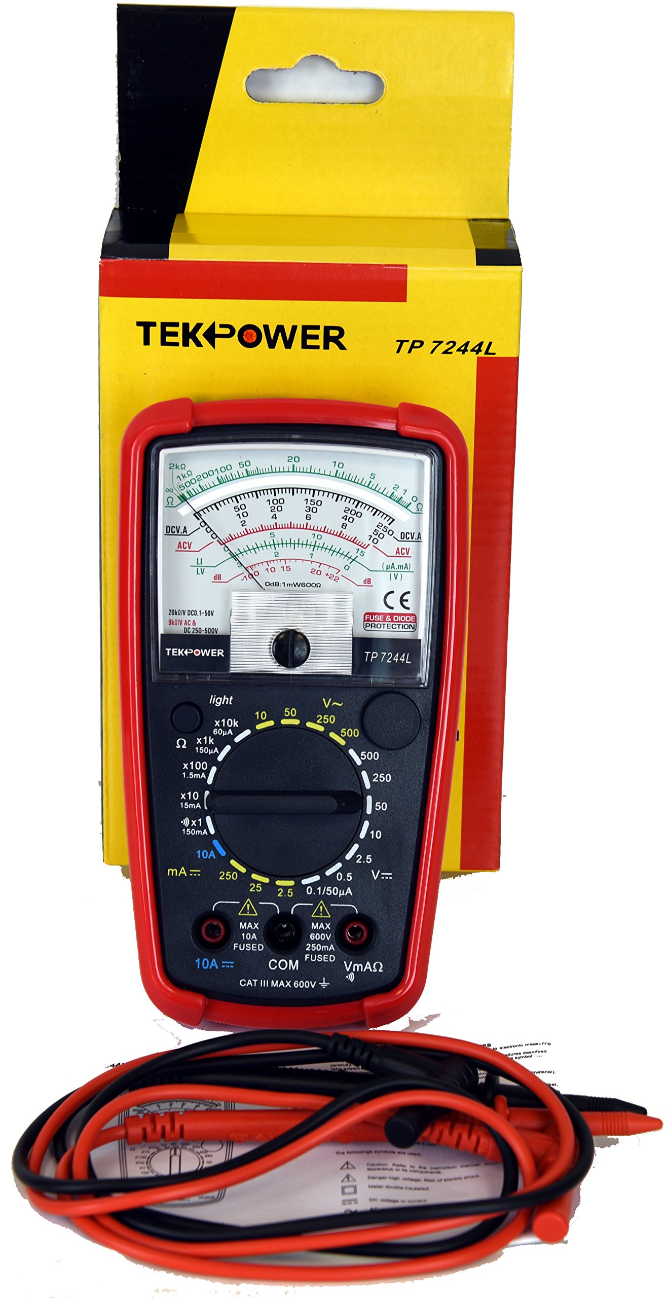 Tekpower TP7244L 7-Function 20-Range Analog Multimeter With Back Light with Strong Protective Holster by Tekpower (Image #7)