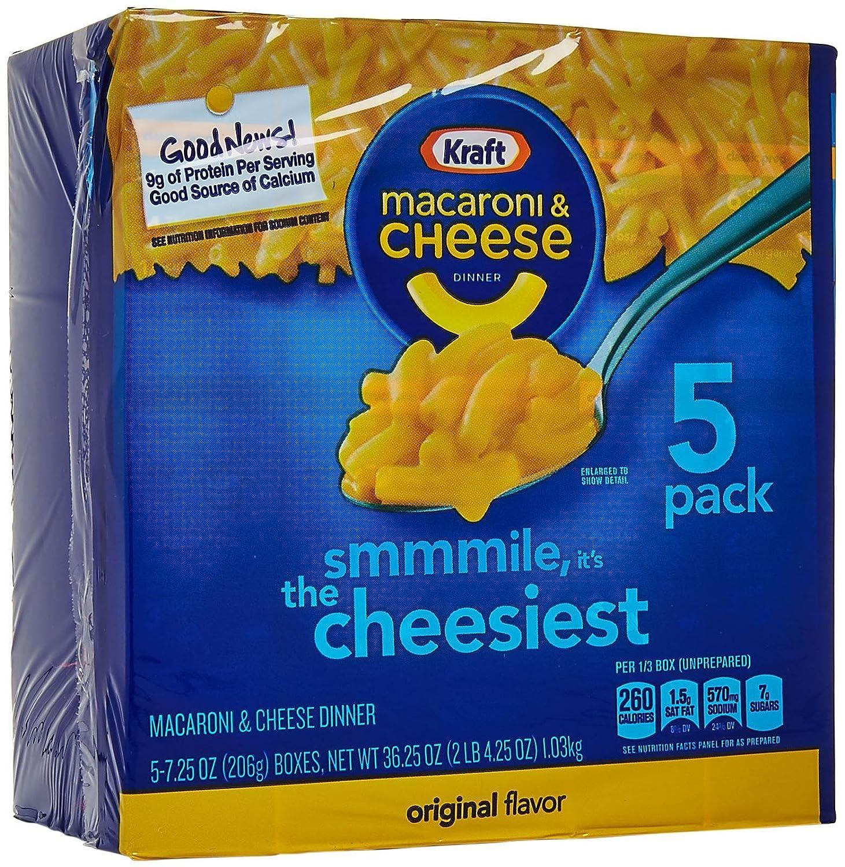 Kraft Macaroni & Cheese, Original, 5-pack, 36.25 oz