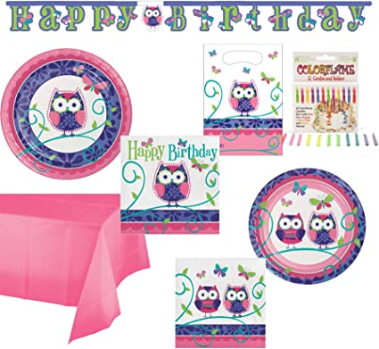 Marvelous Amazon Com Olive Occasions Owl Themed Birthday Disposable Paper Birthday Cards Printable Nowaargucafe Filternl