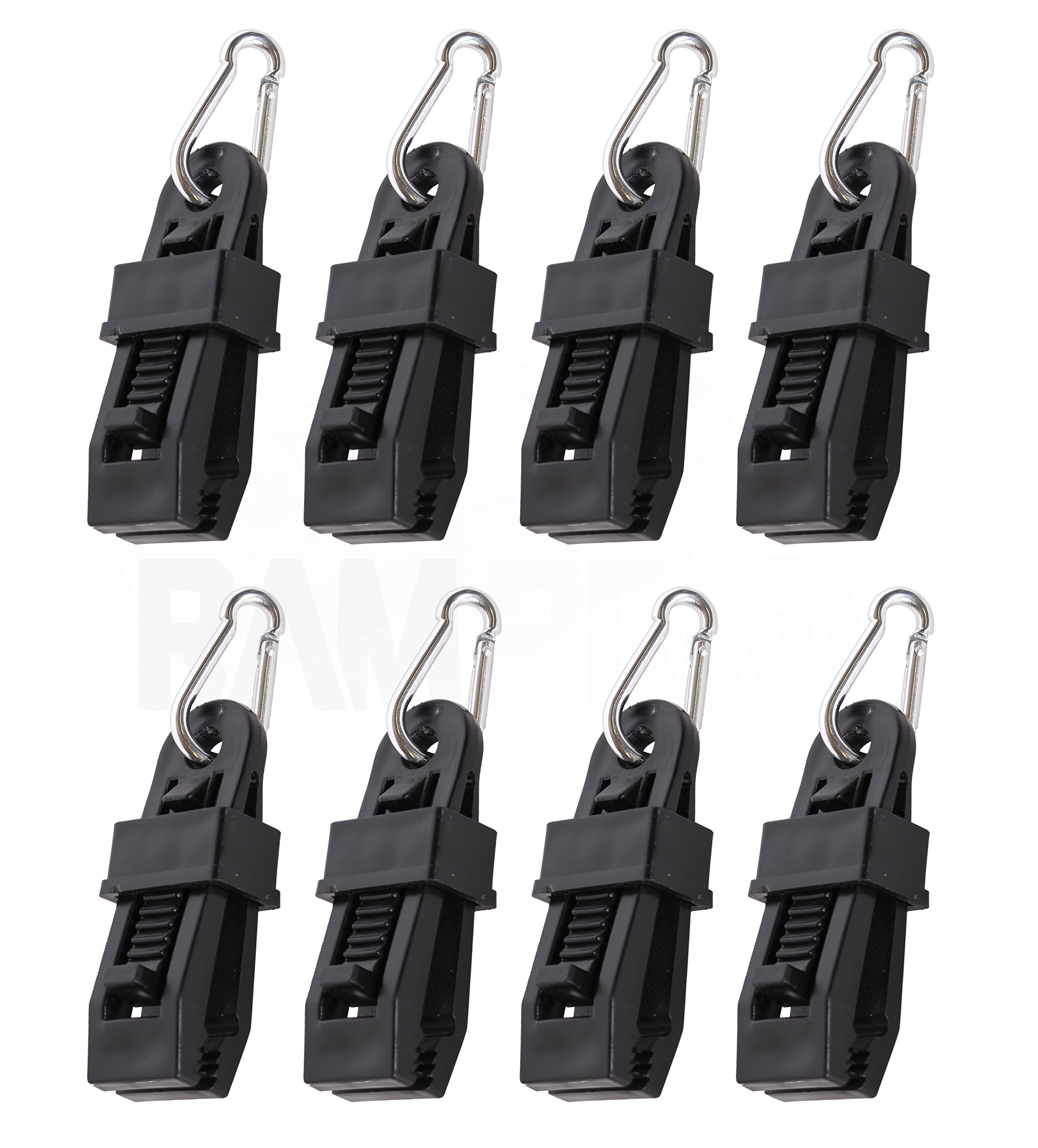 8Pc Heavy-Duty Tarp Clips with Carabiner - Sliding-Lock Grip - Quilt Hangers
