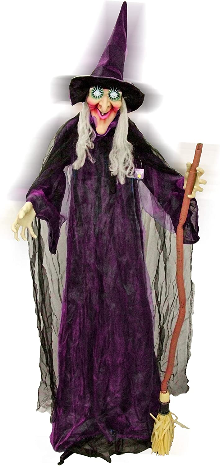 Halloween Haunters 6 Foot Animated Standing Speaking Scary Evil Wicked Witch Broomstick Prop Decoration with Turning Body and Head, Flashing LED Eyes, Cackles, Speaks Spooky Phrases - Haunted House