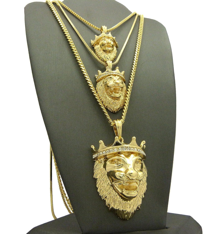 King Lion Anhänger dreifach-Set W/Seil, Schlange und kubanischen ...