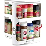 Cabinet Caddy (White)   Pull-and-Rotate Spice Rack Organizer   2 Double-Decker Shelves   Modular Design   Non-Skid Base   Sto