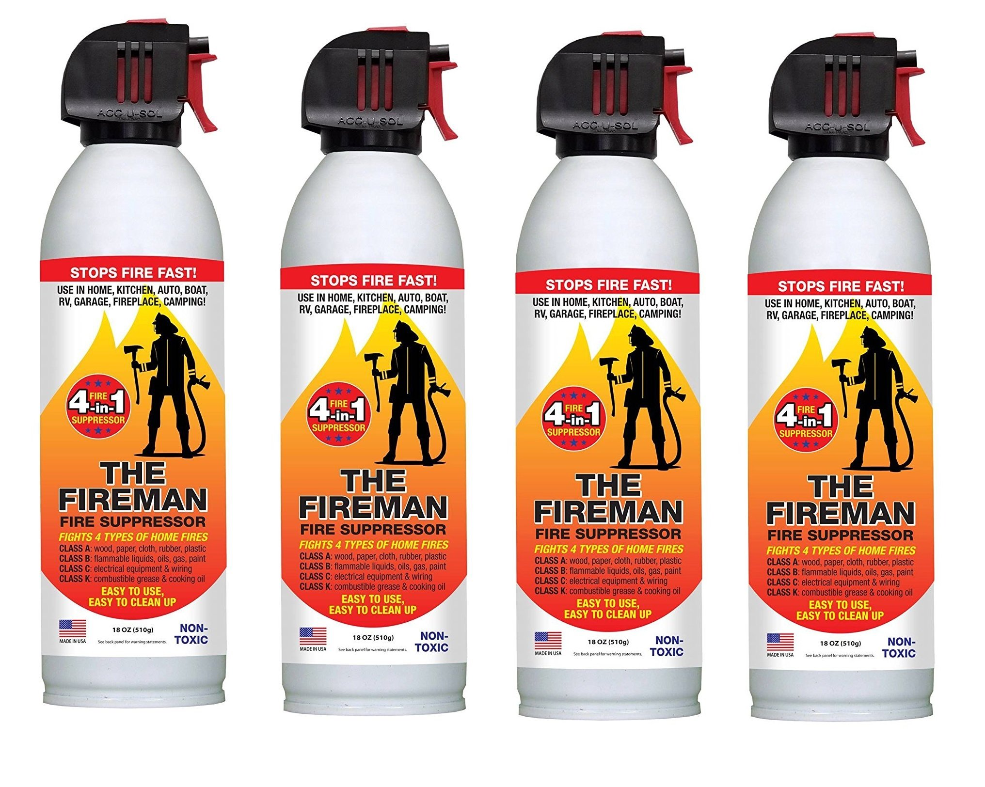 THE FIREMAN - Multi Purpose Fire Extinguishing Suppressant Spray - Fights ALL 4 Common Fires: Wood, Gasoline, Electrical Equipment and Grease/Fat Fires (Class A,B,C & K) - 18 oz. (4 Pack)