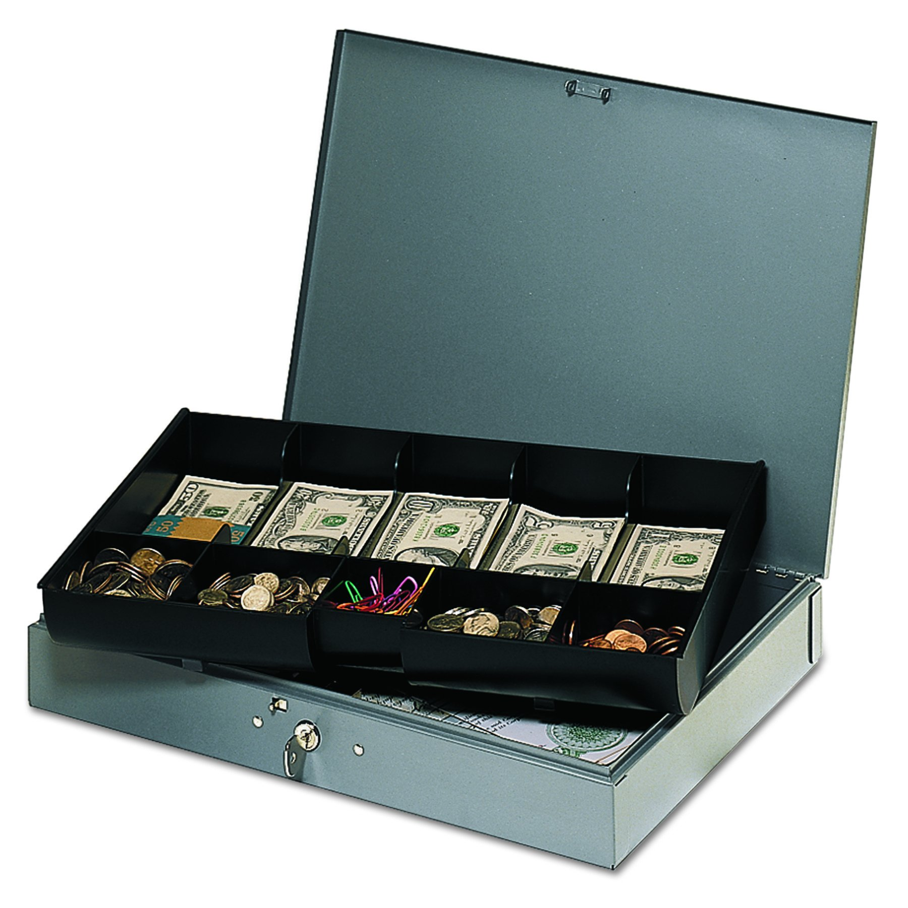 STEELMASTER Low Profile Steel Cash Box with 10 Compartments, Gray (2215CBTGY) by MMF Industries