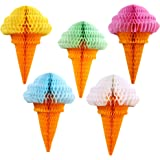 Zilue Party Hanging Ice Cream Tissue Paper Honeycomb Ball Wedding Birthday Decoration Set of 5 mix
