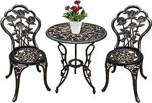 Jardin de panda Birtro Table Set, 3 Piece Outdoor Patio Set Rust-Resistant Cast Aluminum Antique Bronze Rose Design Outdoor Table and Chairs Furniture with Umbrella Hole