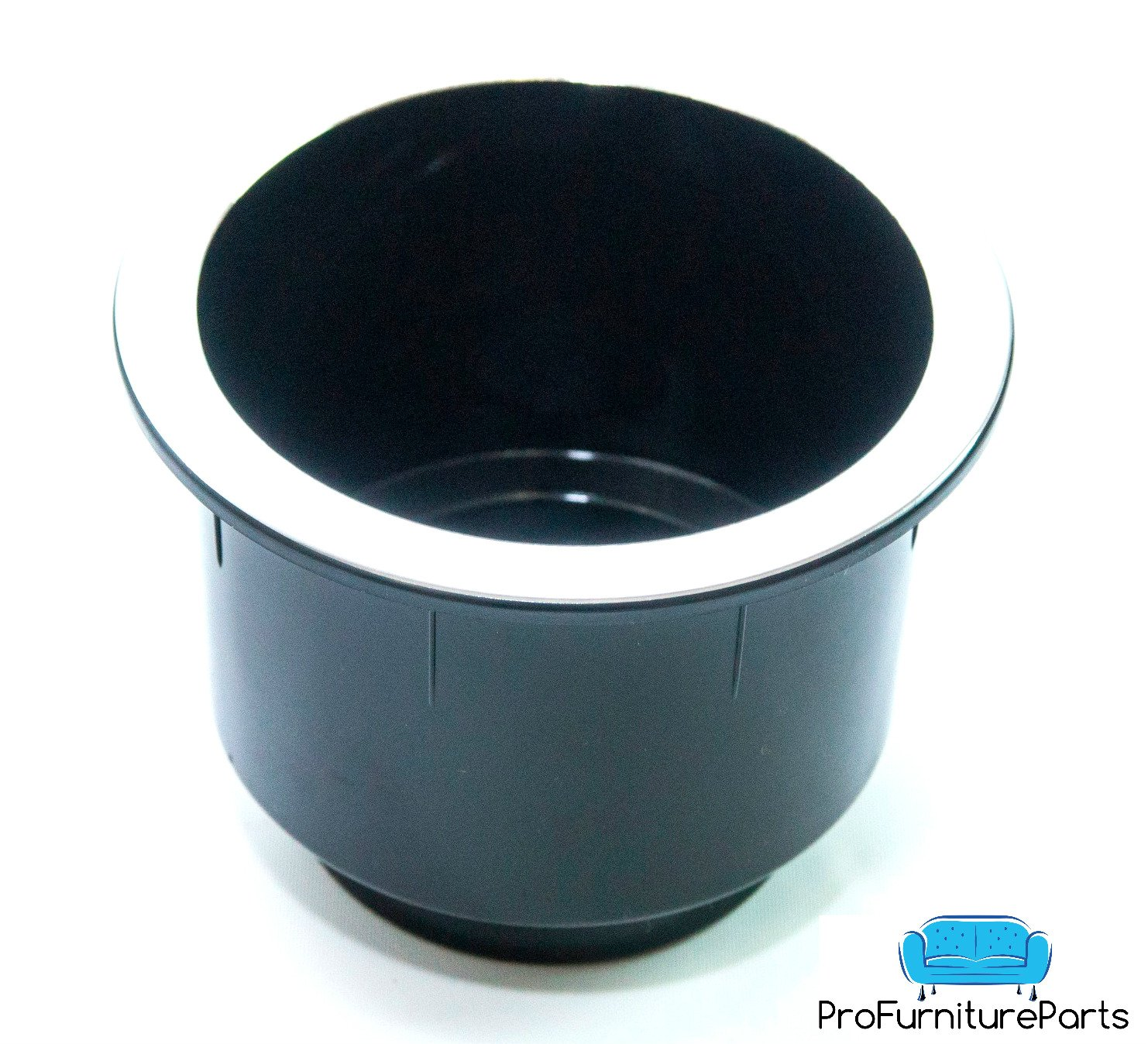 ProFurnitureParts Black Plastic Cup Holder W//Chrome Rim for Sofa Recliner Boat RV Patio Poker Table Car Truck or Anything! 1