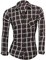 sourcingmap® Hommes Veste Droite Manches Longues Col Pointu Carreaux Impressions T-shirt