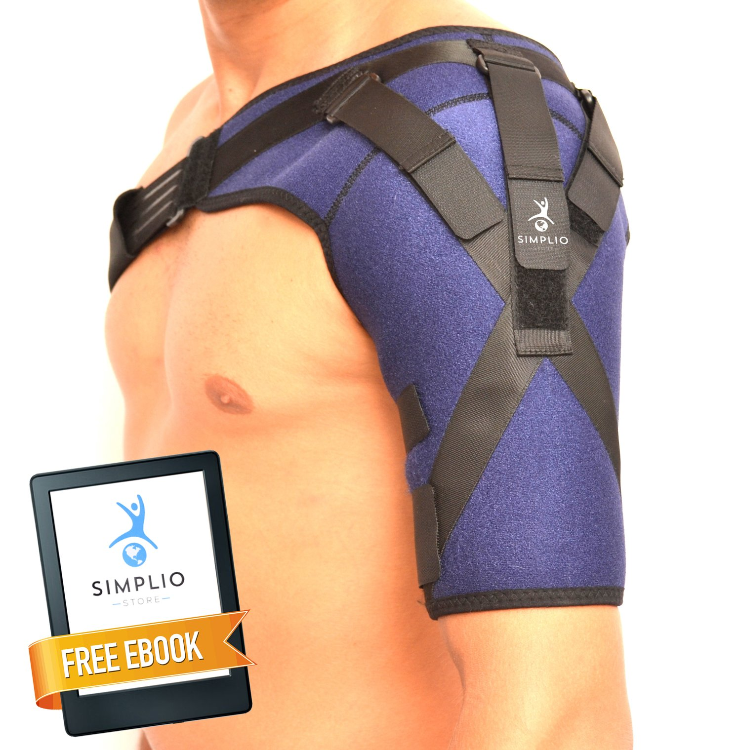 Shoulder Brace With Pressure Straps - Breathable Neoprene, Adjustable Support Sleeve, Compression Bands For Rotator Cuff, Frozen Shoulder Pain, Dislocated AC Joint, Labrum Tear by SimplioStore + eBook