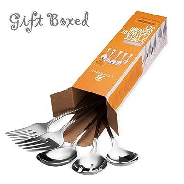 ChefGiant Serving Utensil Set 5-Piece 18/8 Stainless Steel Complete Regency Elegant Line Serveware Flatware Set - Spoons, Forks & Slotted Spoon - For Home & Commercial Use - Gift Boxed