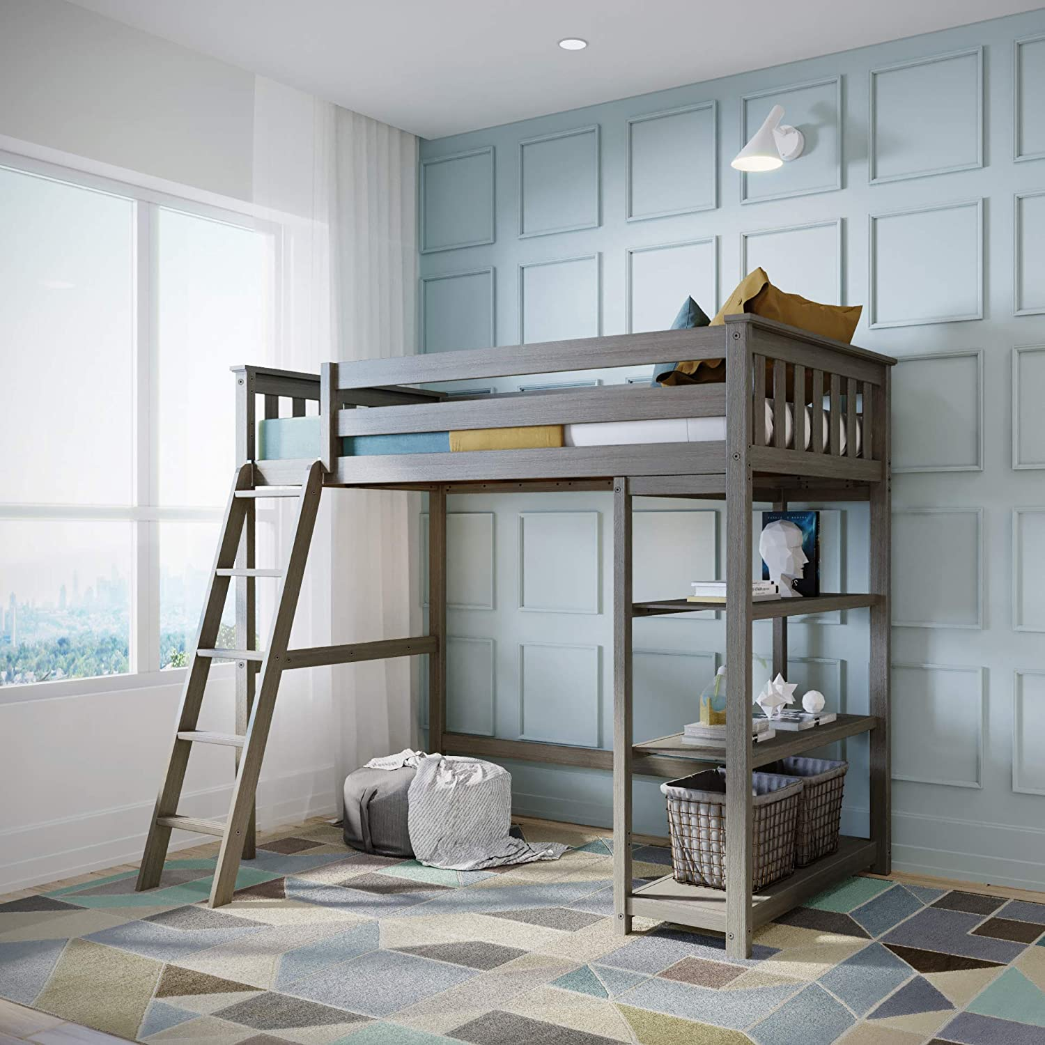 Max & Lily Solid Wood Twin-Size High Loft Bed with Bookcase, Clay