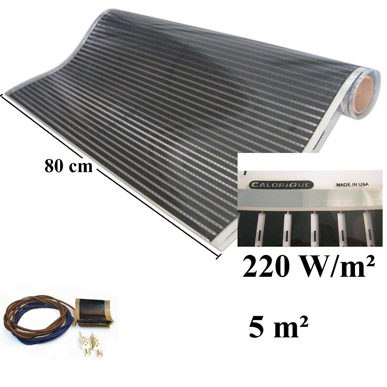Calorique Infrarot Heizfolie Elektrische Fu/ßbodenheizung 80 cm Set 220 W//m/² 2,5 m/² effiziente und kosteng/ünstige Heizung f/ür Neubau oder Altbau-Sanierung