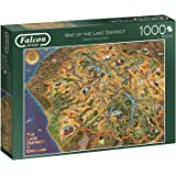 Jumbo 11237 Map of The Lake District 1000 Piece Jigsaw Puzzle, Multi-Colour