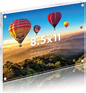 """Americanflat Acrylic Picture Frame in Clear - Scratch Resistant with Magnetic Corners & Freestanding for Tabletop - 8.5"""" x 11"""""""