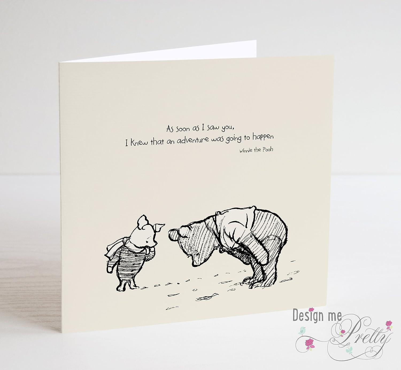 Winnie The Pooh Greeting Card For Birthday Or Anniversary Amazon Co Uk Handmade