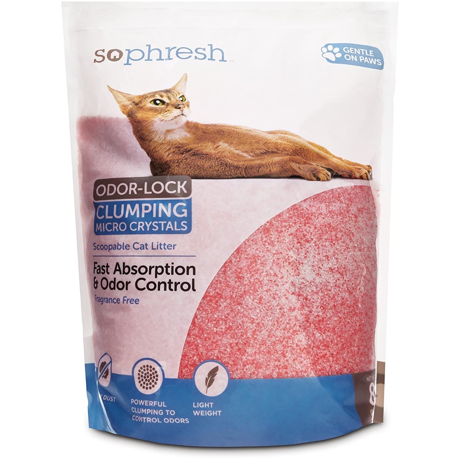 SO PHRESH Scoopable Odor-Lock Clumping Micro Crystal Cat Litter in Pink Silica