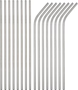 Brightbuy Stainless Steel Straws Set of 100 Piece, 8.5'' Metal Drinking Straws for 20oz Tumblers Yeti 6mm Diameter (50 Straight + 50 Bent) (100pc 215mm)