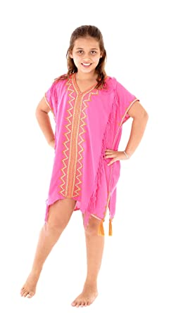 8a20d751c9f05 SHU-SHI Girls Toddler Swimsuit Cover Up Tunic Dress Caftan Fuchsia 2-12  Years