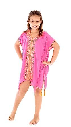 3ade5ec21e SHU-SHI Girls Toddler Swimsuit Cover Up Tunic Dress Caftan Fuchsia 2-12  Years