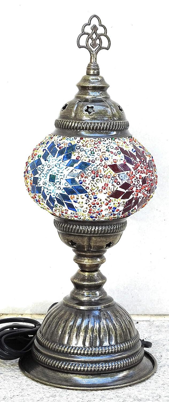 lampara turca sobre mesa recta numero 2 .metal y cristales ...