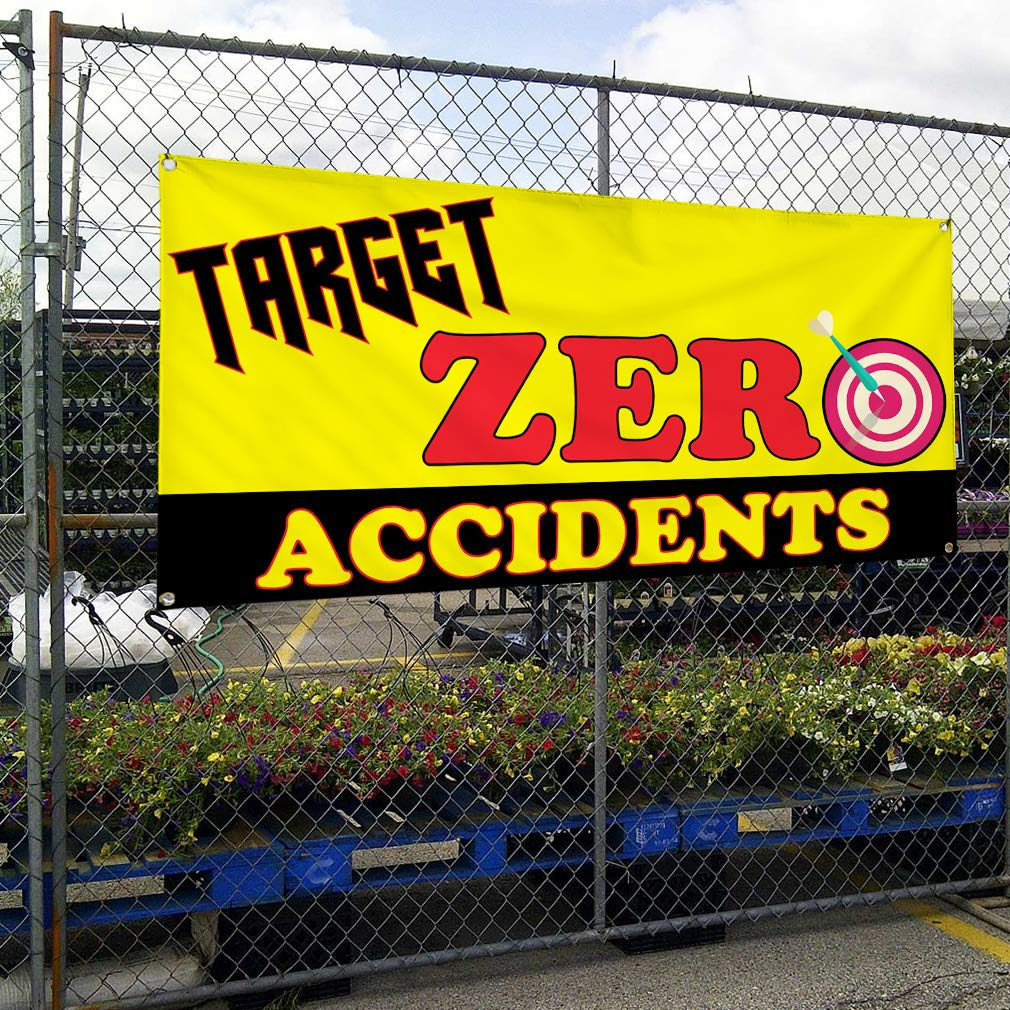Set of 2 Multiple Sizes Available 6 Grommets Vinyl Banner Sign Target Zero Accidents #1 Lifestyle Safely Marketing Advertising Yellow 32inx80in