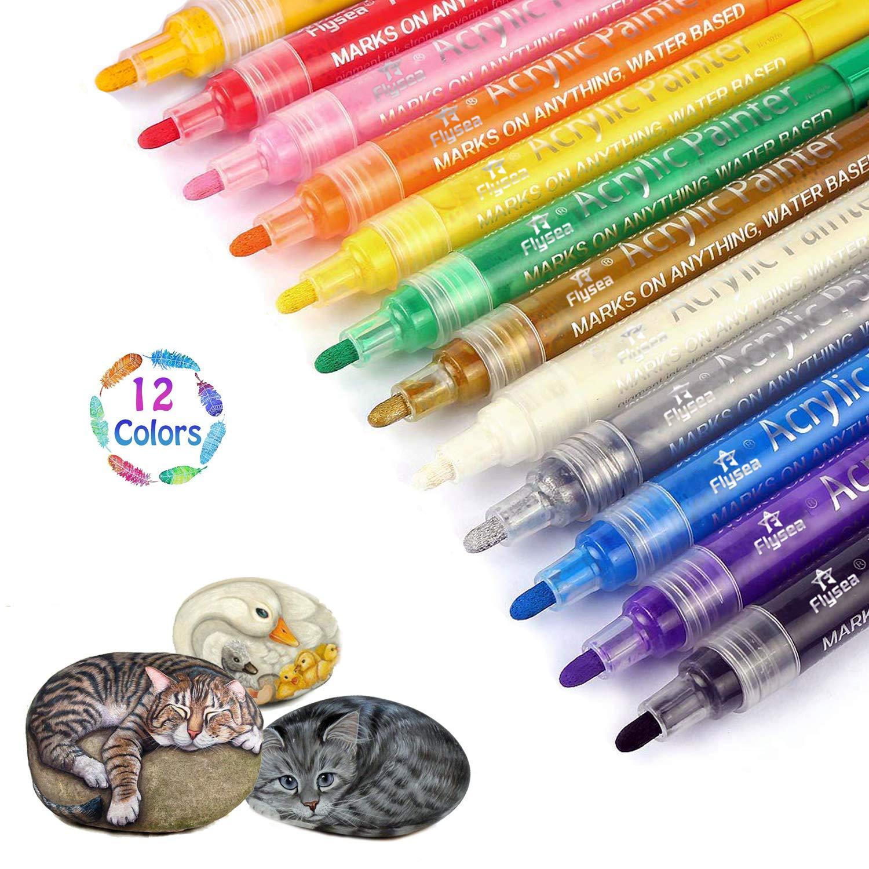 Acrylic Paint Pens Scrapbook Pens Premium Permanent Water Based Medium Tip Marker Pens 12pcs for Scrapbooking Crafts, DIY Photo Album, Art Rock Painting, Card Making, Metal and Ceramics, Glass