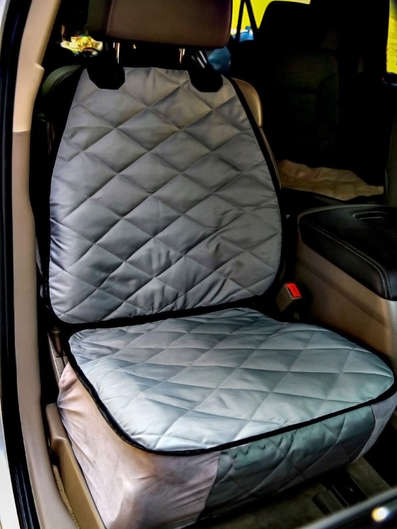 Plush Paws Co-Pilot Pet Car Seat Cover for Bucket Seats with Bonus Harness and Seat Belt for Cars, Trucks, SUV'S and Vehicles - Grey