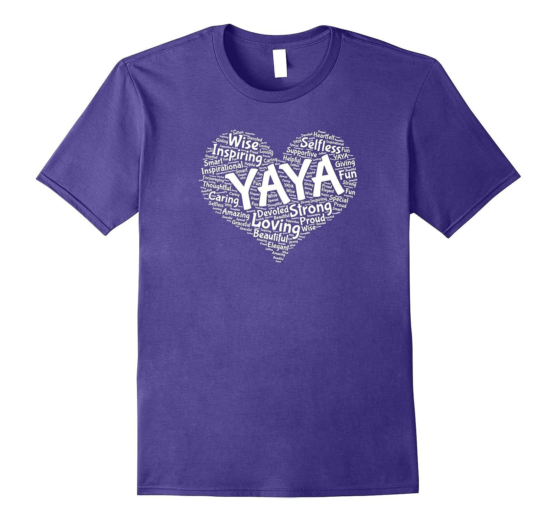 Yaya Heart Shape T Shirt - Fun Mother's Day Gift-TH