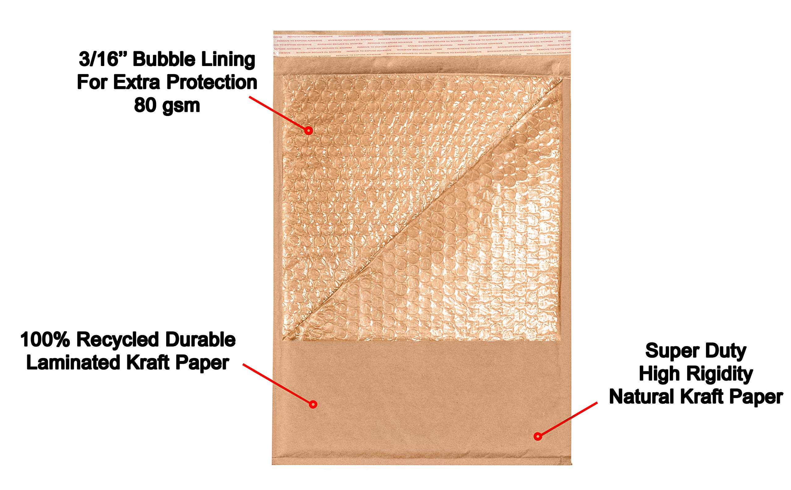 AMIFF Natural Kraft bubble mailers 14 x 20 Brown Padded envelopes 14 x 20 by Amiff. Pack of 10 Kraft Paper cushion envelopes. Exterior size 15 x 20 (15 x 20). Peel and Seal. Mailing, shipping. by Amiff (Image #4)