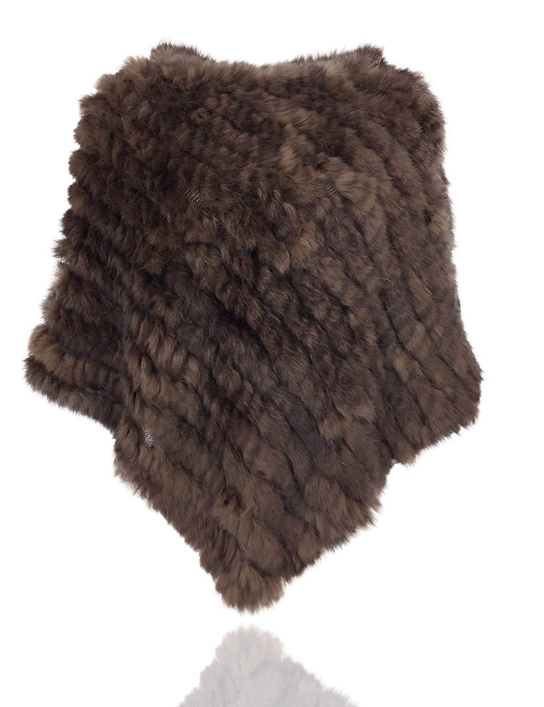 Uilor Women's Natural Rabbit Fur Knitted Shawl Length 73CM 25011-Beige