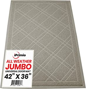 "SlipToGrip Universal Door Mat – XL Size 42"" x 35"" – Anti Slip, Durable & Washable – Duraloop Mesh Entrance Outdoor & Indoor Welcome Mat – Dirt and Dust Absorber (Taupe)"