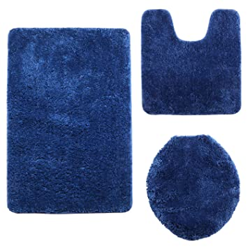 Amazon Com Shacos 3 Pieces Bathroom Rugs Set Microfiber Bath Rugs