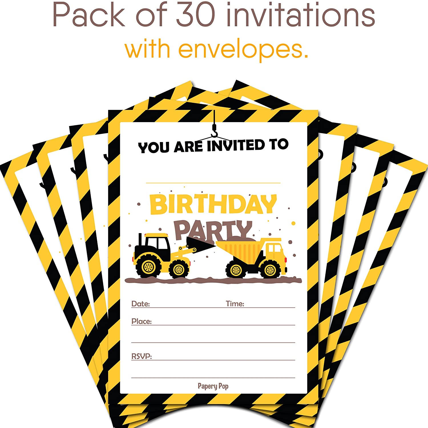 Green Tractor Birthday Party Invitations for Boys - Farm Ranch ...
