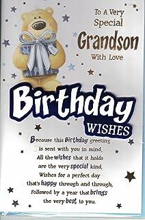 *Large* A special Great-Grandson Happy Birthday cute teddy bear football card