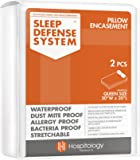 HOSPITOLOGY PRODUCTS Sleep Defense System - Waterproof/Bed Bug/Dust Mite Proof - PREMIUM Zippered Pillow Encasement & Hypoallergenic Protector, Set of 2, 20-Inch by 30-Inch, Queen