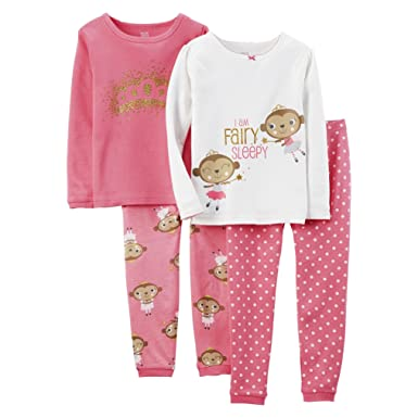 b48d79b8f3 Amazon.com  Just One You by Carter s Girls  4- piece Pajama Set ...