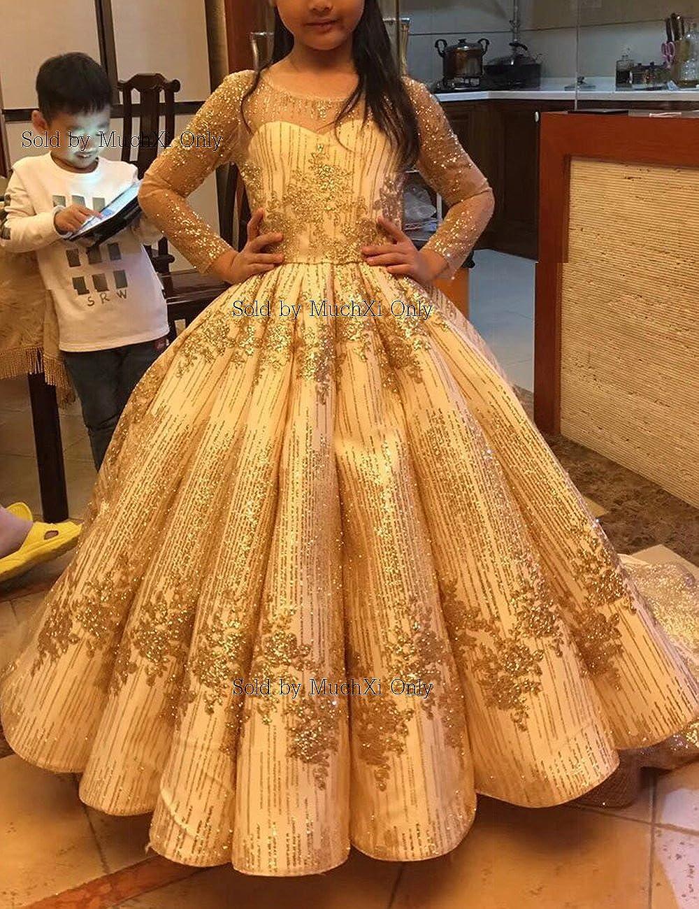 3f163dd66c4db Amazon.com  MuchXi A-Line Girl s Chiffon Lace V-Neck Pageant Wedding Party  Bridesmaid Flower Girl Dress  Clothing