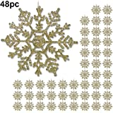 "Gold Snowflake - 48 Pack of 4"" Glitter Gold Snowflake Ornaments - Shatterproof Christmas Ornaments with Silver Cords - Snowflake Decorations"