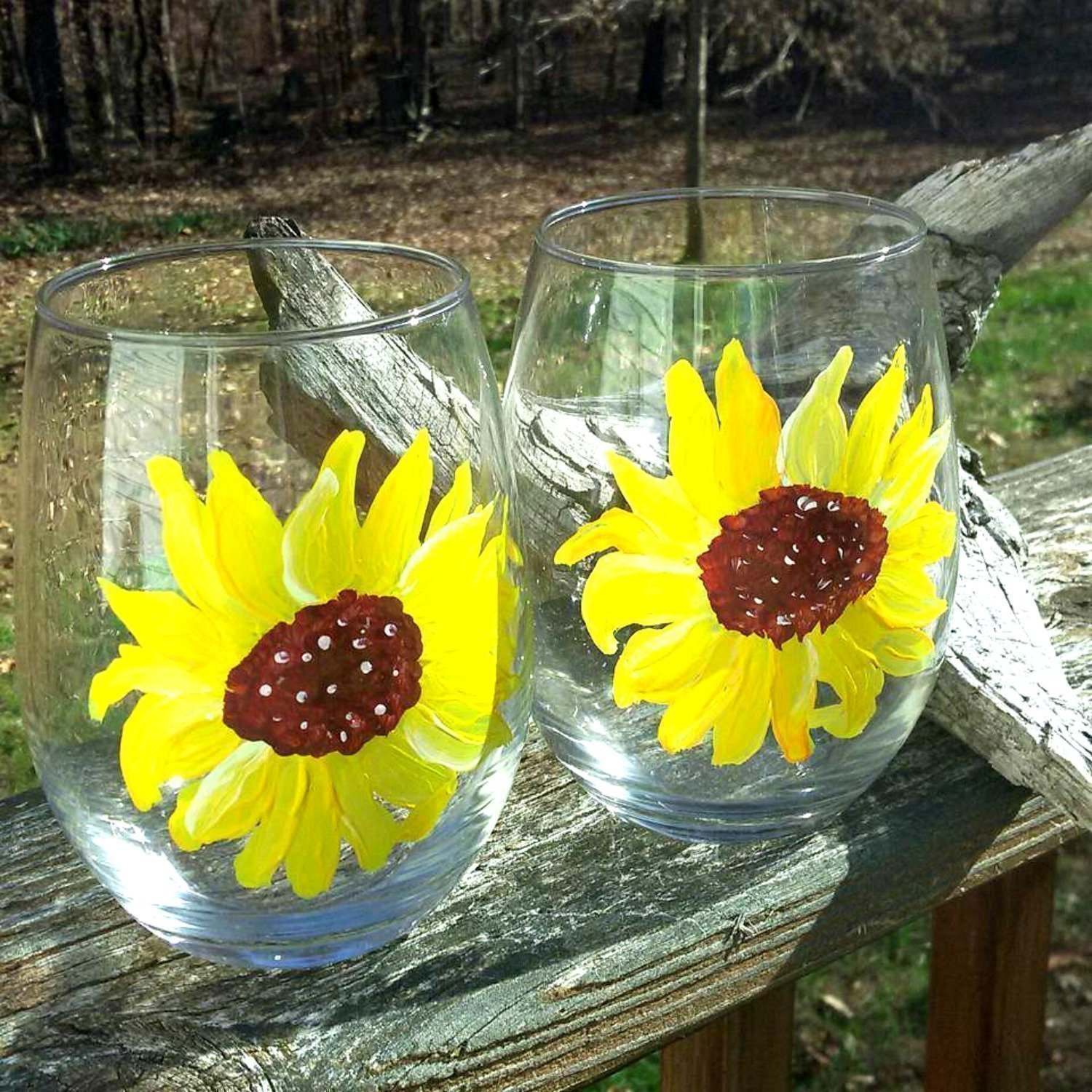 Yellow Sunflower Hand Painted Stemless Wine Glasses (Set Of 2), Floral Kitchen Decor by Atkinson Creations (Image #2)