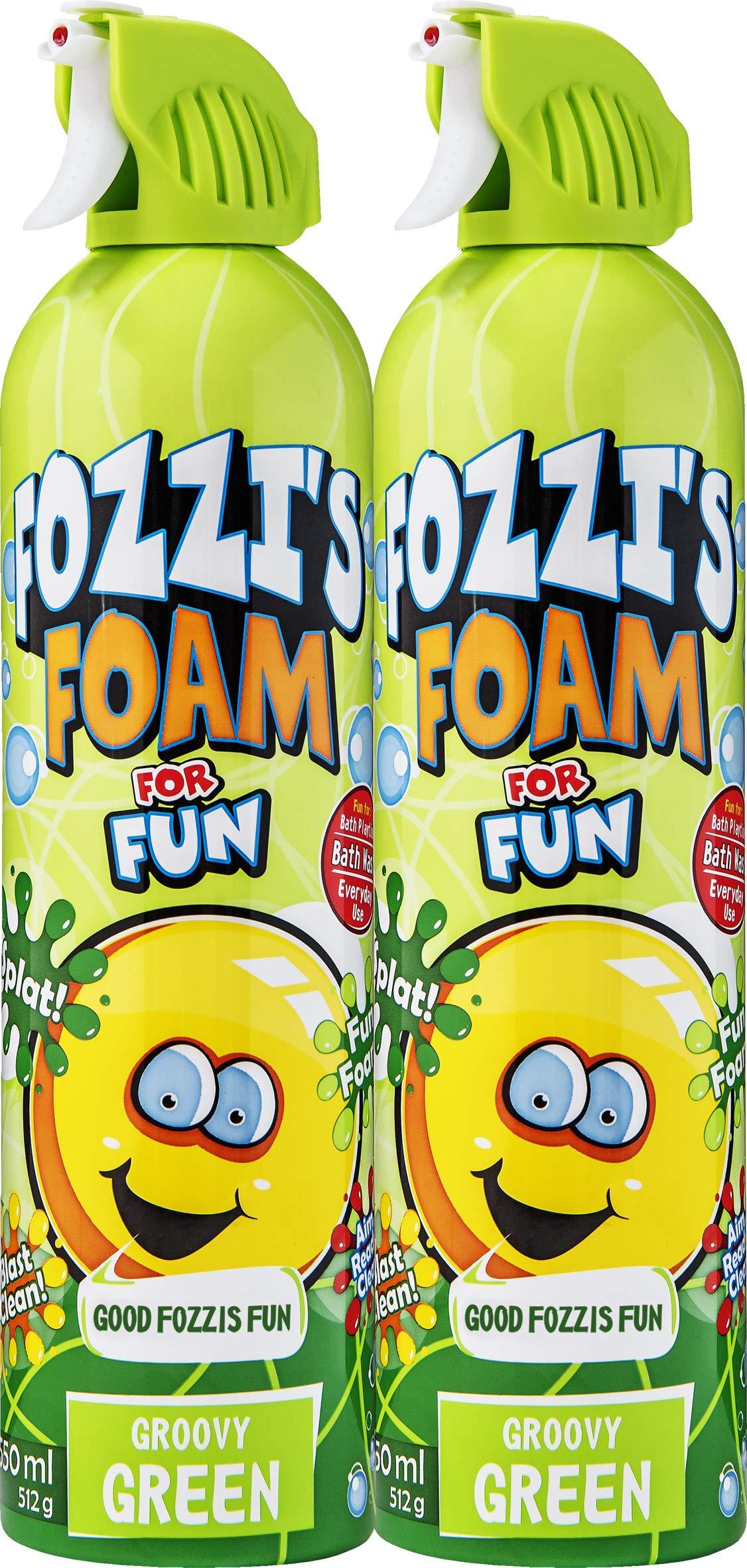 FOZZI's Bath Foam Aerosol for Kids, Groovy Green, Good Clean Fun, 600ml Each (Pack of 2) by FOZZI's