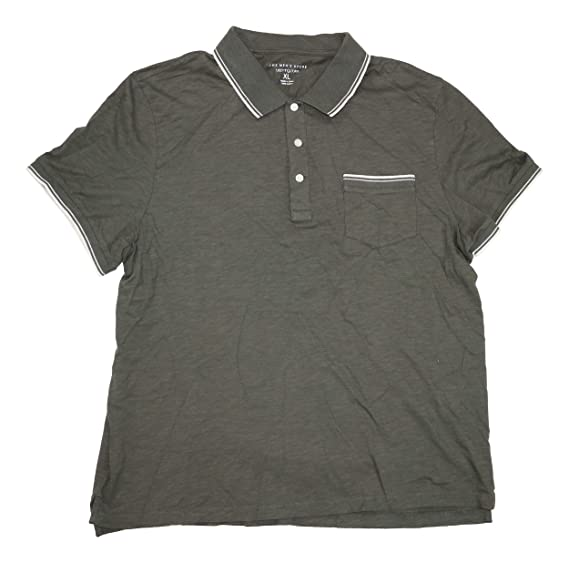 5777274b2b4 Bloomingdale's New Black Olive Tipped Ribbed S/S SLUB Polo Shirt Size XL at  Amazon Men's Clothing store: