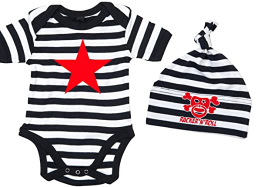 6efa6ef23afa Racker-n-roll rED sTAR body set body pour bébé avec bonnet à rayures ...