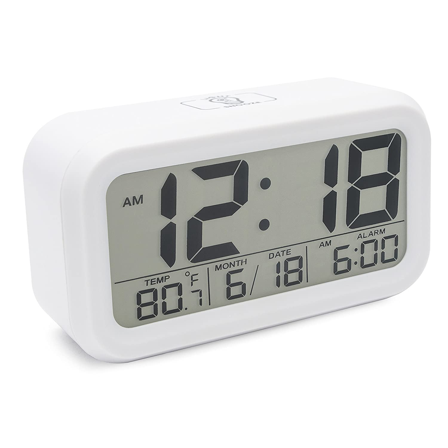 JCC Innovation Smart Light Technology Night Vision Easy Read Bold Number Display Digital Alarm Clock with Snooze, Date and Temperature Display - Battery Operated (Black) JCC_AL_D_1019