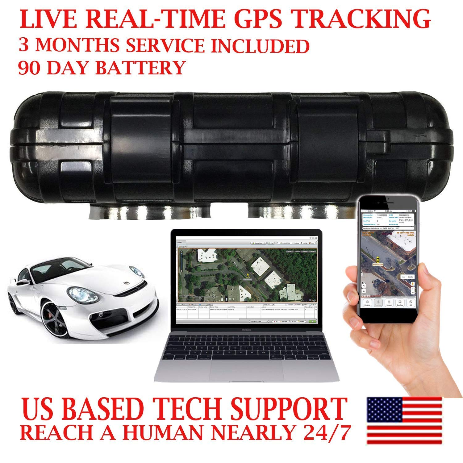 AES RGT90 GPS Tracker SMS Locator Mini Portable Vehicle Locating Tracking  Device with Waterproof Magnetic Case works up to 90 days on a single charge