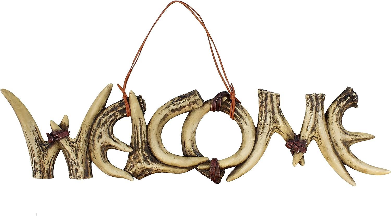 Faux Deer Antler Welcome Sign