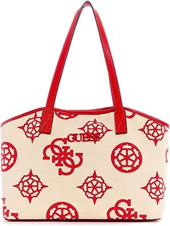جيس حقيبة يد كبيرة بحمالة للنساء , احمر وبيج - CV775523